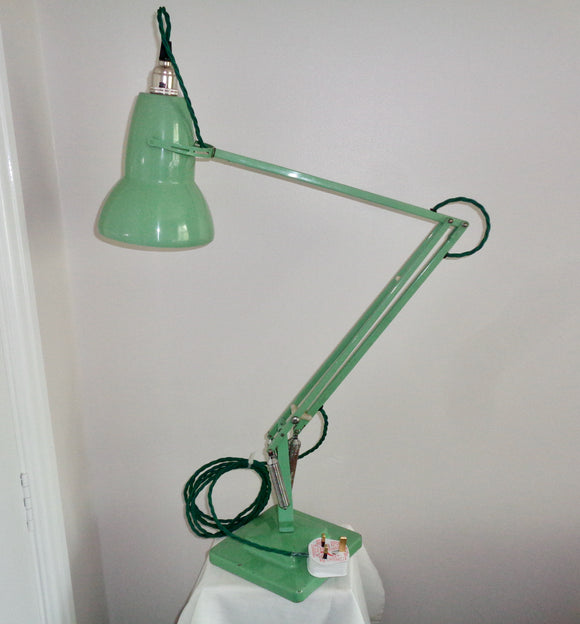 Vintage Anglepoise 1227 1960s Green Desk Lamp With Green Flex