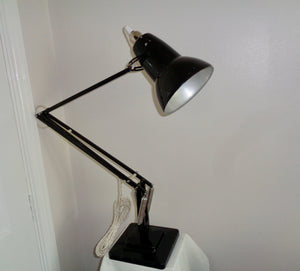 Vintage Anglepoise 1227 1960s Black Desk Lamp With Cream Flex
