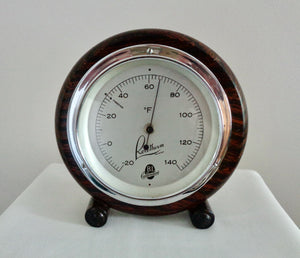 Vintage Chrome & Wood Surround Rototherm Thermometer