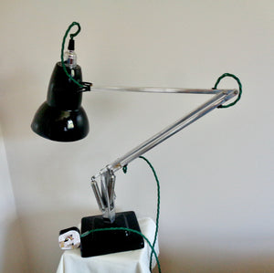 Vintage Anglepoise 1227 Green & Polished Aluminium 1960s Desk Lamp With Green Flex