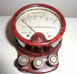1920s Weston Electrical Instruments Red Bakelite Ammeter