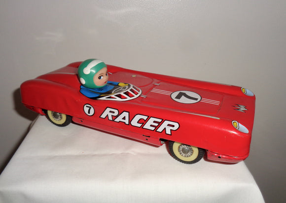 Vintage Friction Drive Tinplate Toy Racing Car. MF 905 Made in China