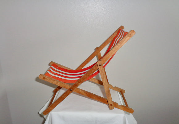 Vintage Miniature Toy Deck Chair Made From Wood & Canvas