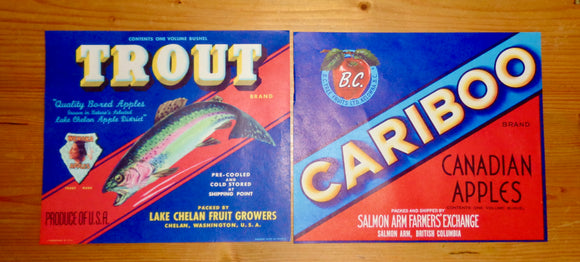 Vintage Original Fruit Crate Labels For Cariboo Apples and Trout Wenoka Apples