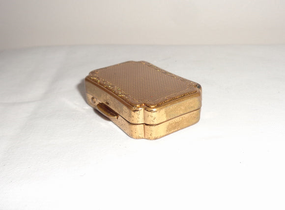 Vintage Stratton of London Gold Tone Pill Box