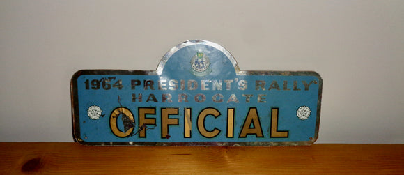 1964 Harrogate President's Official Car Rally Plaque