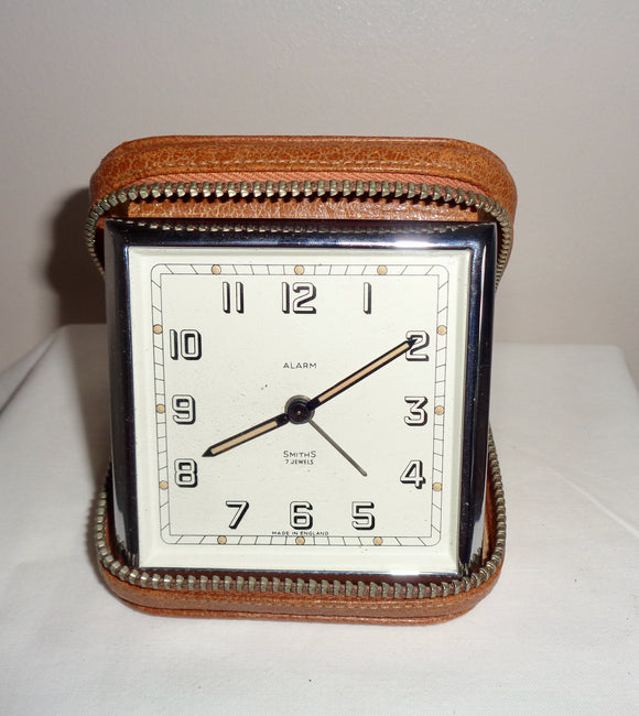 Vintage Smiths Travel Alarm Clock In A Zippered Leather Case