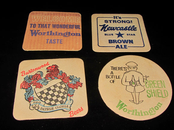 Set of Four Of Vintage Beer Bar Mats/Coasters. Worthington/Burtonwood/Newcastle