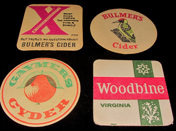Selection Of Four Vintage Bar Mats/Coasters. Gaymers Cyder/Woodbine/Bulmers Cider