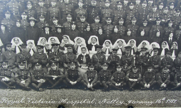 WW1 Panoramic Monochrome Photograph Of Staff At The Royal Victoria Hospital Netley