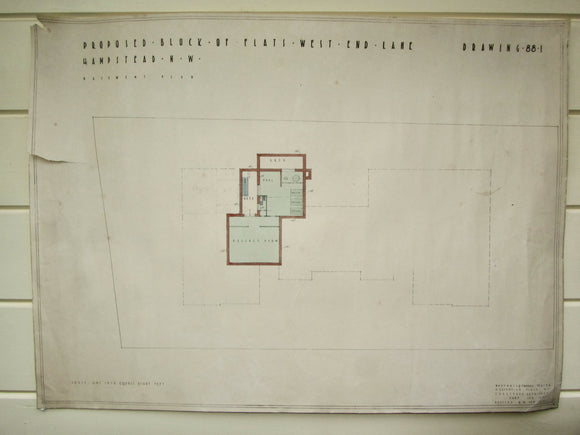 1935 Marshall & Tweedy Architect Drawings West End Lane Hampstead 88.1 Basement