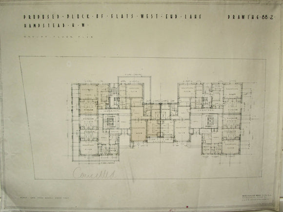 1935 Marshall & Tweedy Architect Drawings West End Lane Hampstead 88.2 Ground Floor