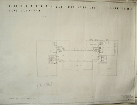 1934 Marshall & Tweedy Architect Drawings West End Lane Hampstead 88.4 Sixth Floor