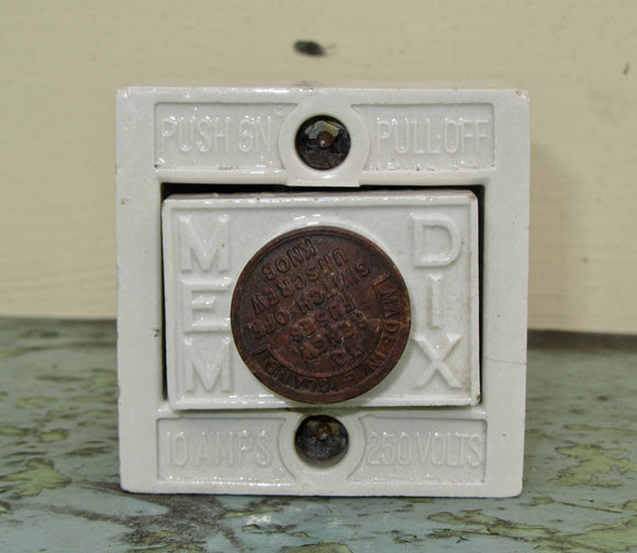 Vintage MEM DIX Ceramic Electrical Fuse Box