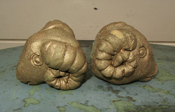 Pair of Moulded Gold Coloured Rams Head Finials