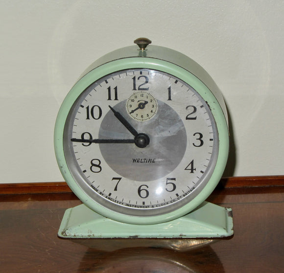 Vintage Weltime Alarm Clock In Pale Green By Anglesey Instrument and Clock Co