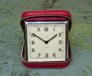 Vintage Smiths Travel Alarm Clock In A Zippered Red Leather Case