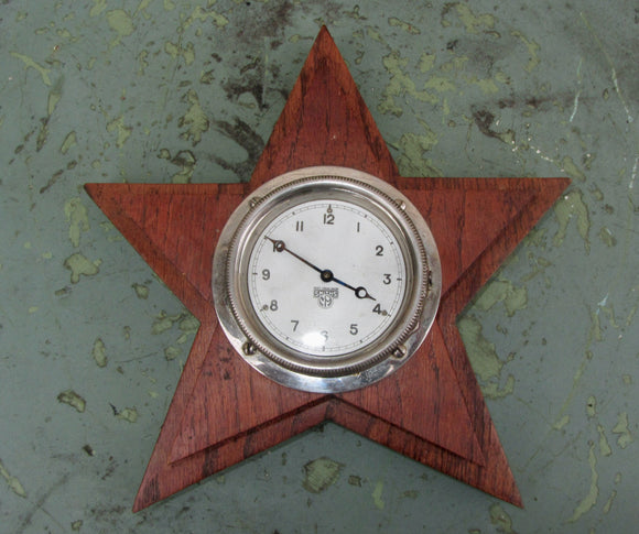 Vintage Smiths Motor Car Dashboard Clock Wood Mounted In A Star Shape