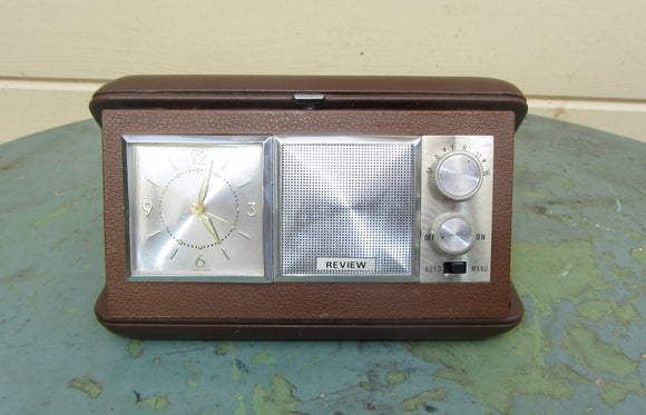 Vintage Review Travel Radio Alarm Clock In A Brown Plastic Case