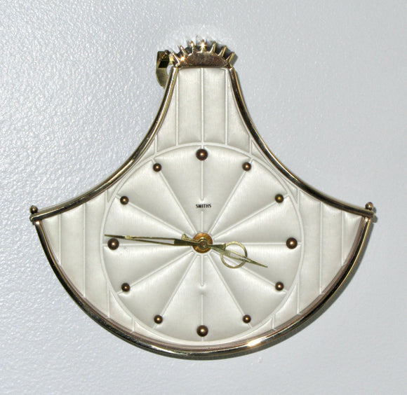 1950s Vintage Smiths Brass Fan Shaped Mechanical Wall Clock