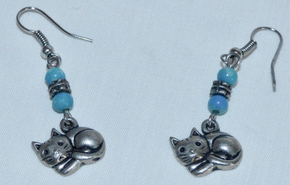 Silver Coloured Metal Cat Dangle And Drop Earrings With Blue Coloured Beads