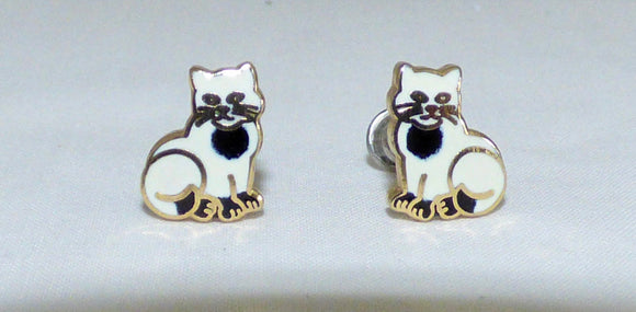Vintage White Cat Stud Earrings In Gold Coloured Metal