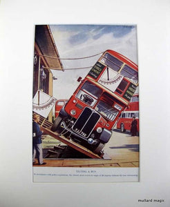 1950s Polychrome Print Tilting A Bus