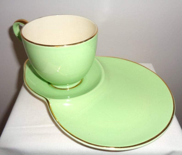 1950s Crown Devon Green Gilded A427P Cup And Tennis/Snack Plate