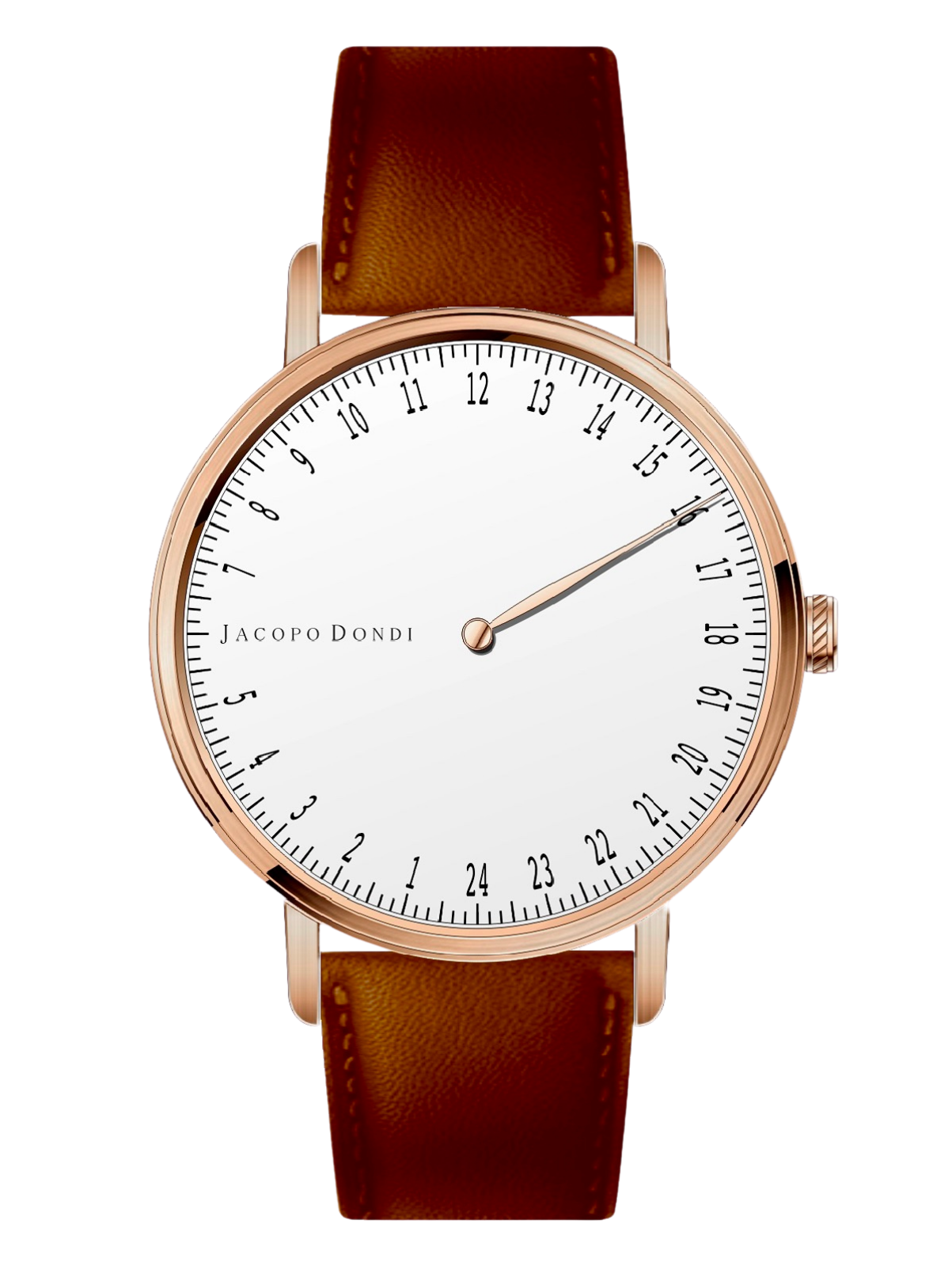 White | Rose Gold | Brown Leather