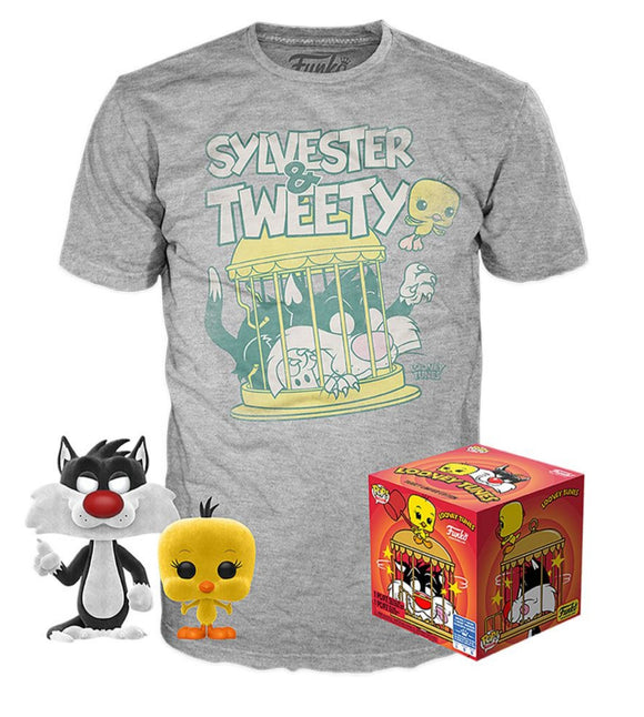 Looney Tunes Sylvester and Tweety Funko Pop and T Shirt set