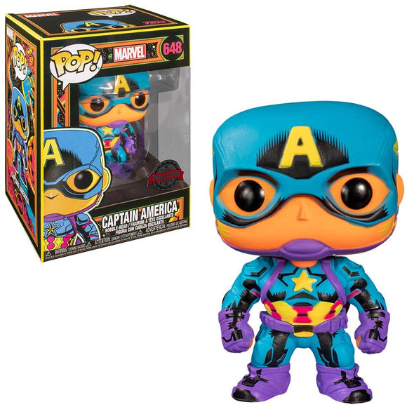 Captain America Marvel Black Light Glowing Funko Pop special Edition
