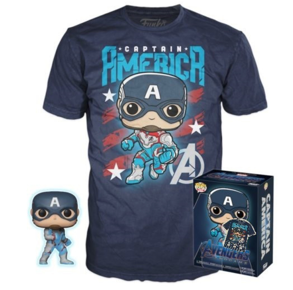 Captain America Funko Pop and SMALL Tee Set GID