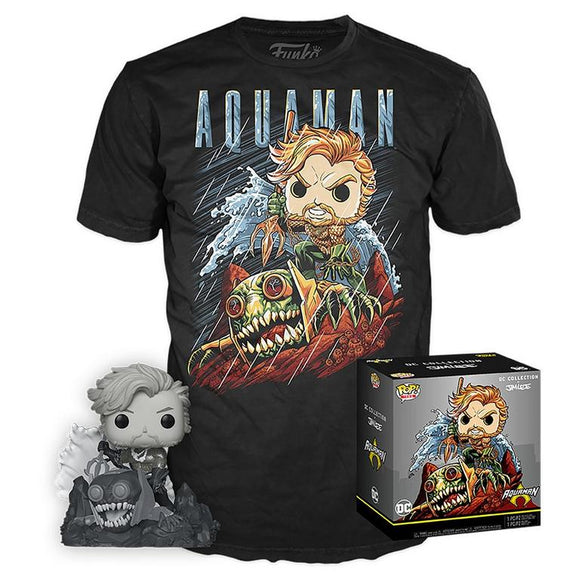 Aquaman B&W Jim Lee Funko Exclusive with T Shirt