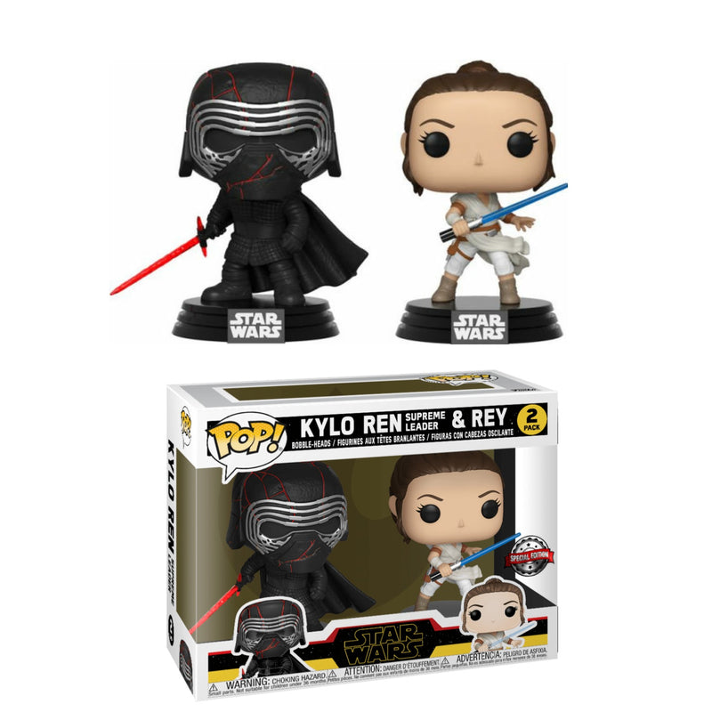 Kylo Ren and Rey Star wars funko pop twin pack special edition