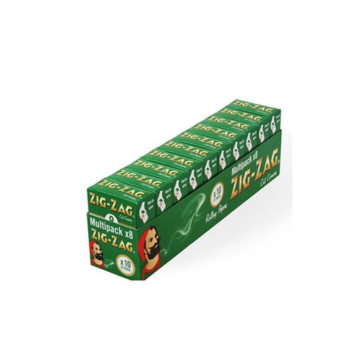 10 Pack x 8 Booklet Zig-Zag Green Regular Rolling Papers