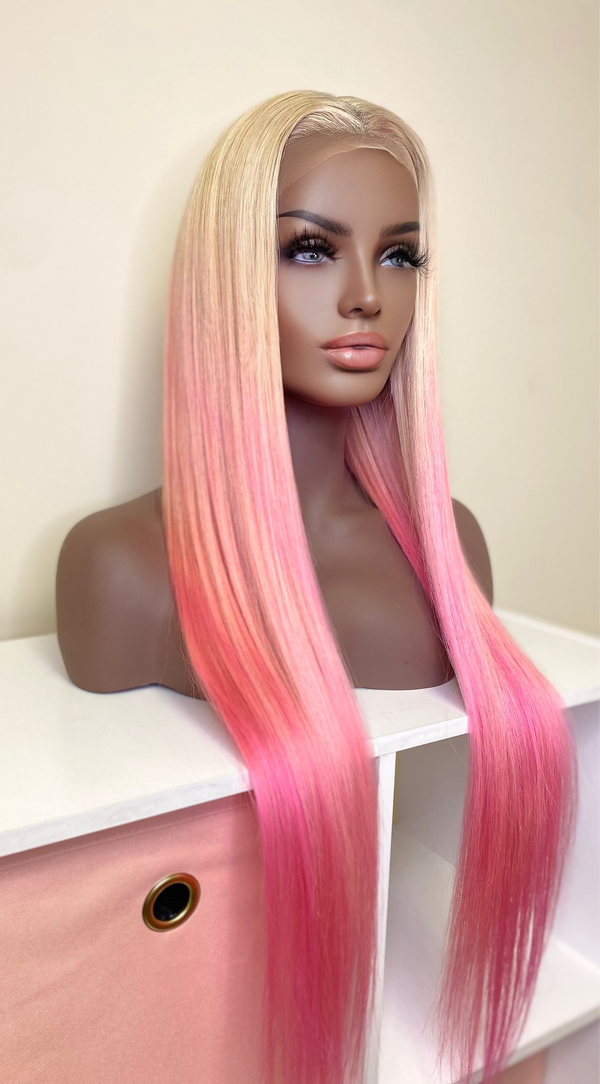 """Pink Lemonade"" Glueless Front Lace Wig"