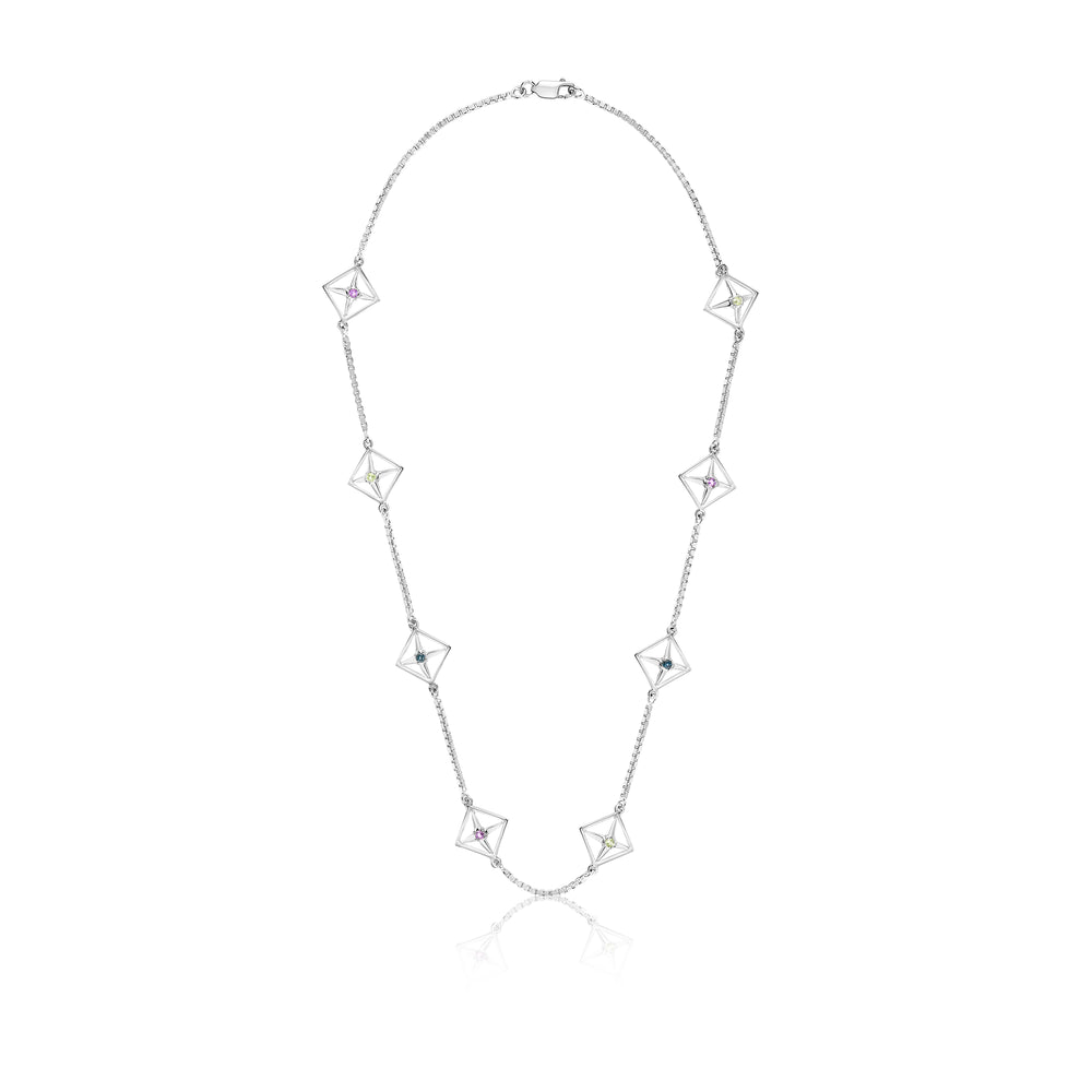 Aurora Motif Gemstone Necklace - Sterling Silver