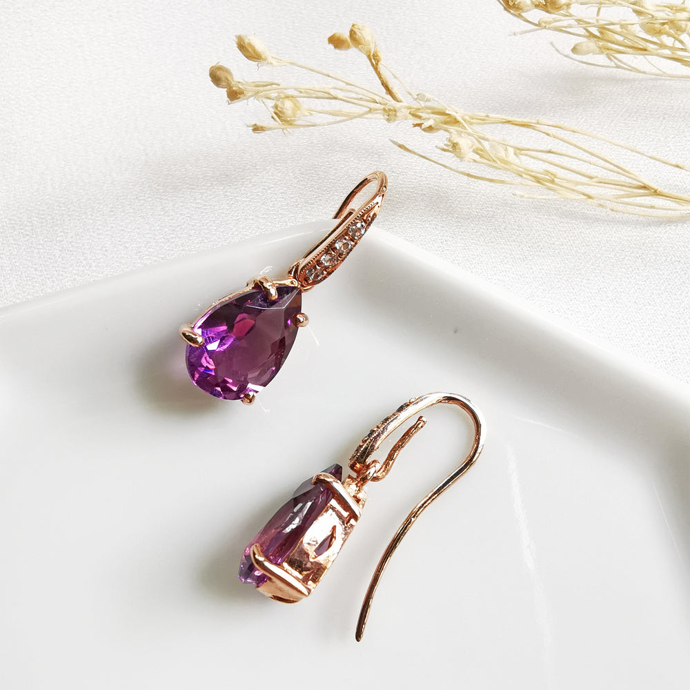 amethyst tear drop earrings topaz