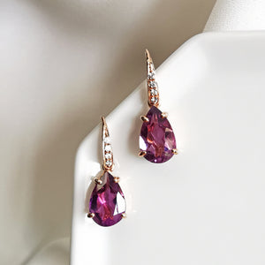 amethyst tear drop earrings