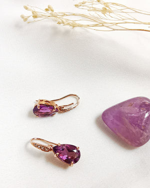 amethyst tear drop earrings with topaz