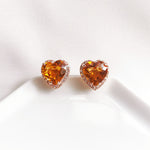 Gia Citrine Heart Halo Stud Earrings (Large) - Rose Gold Plated