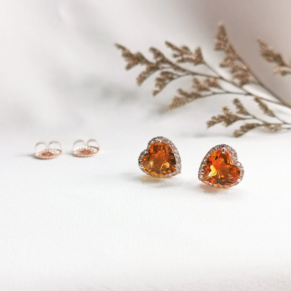 Large Gemstone Heart Shaped Stud Earrings
