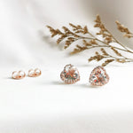 Gia White Topaz Heart Halo Stud Earrings (Large) - Rose Gold Plated