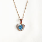 Hana Sky Blue Topaz Petite Heart Halo Necklace - Rose Gold Plated