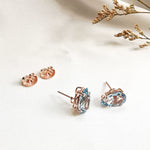 Gemstone Pear Rose Gold Stud Earrings