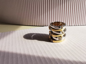 Load image into Gallery viewer, Sterling Silver and Gold Baguette White Topaz Rings