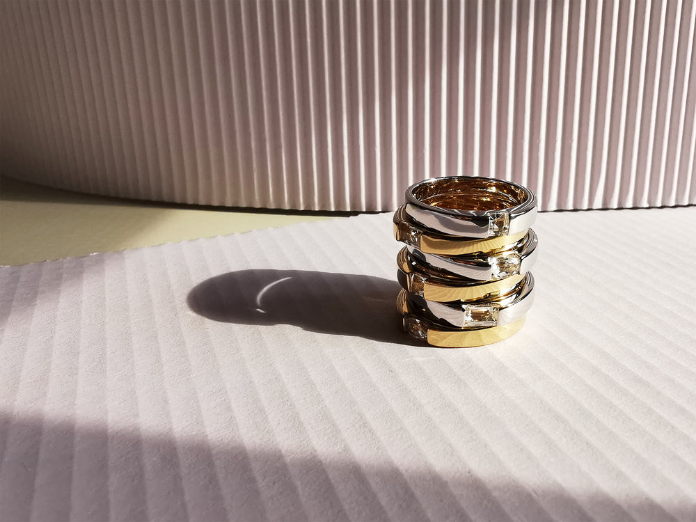 Silver and Gold Square White Topaz Rings Stack