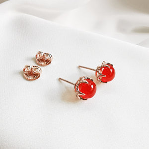 Kai Carnelian Round Cabochon Stud Earrings - Rose Gold Plated