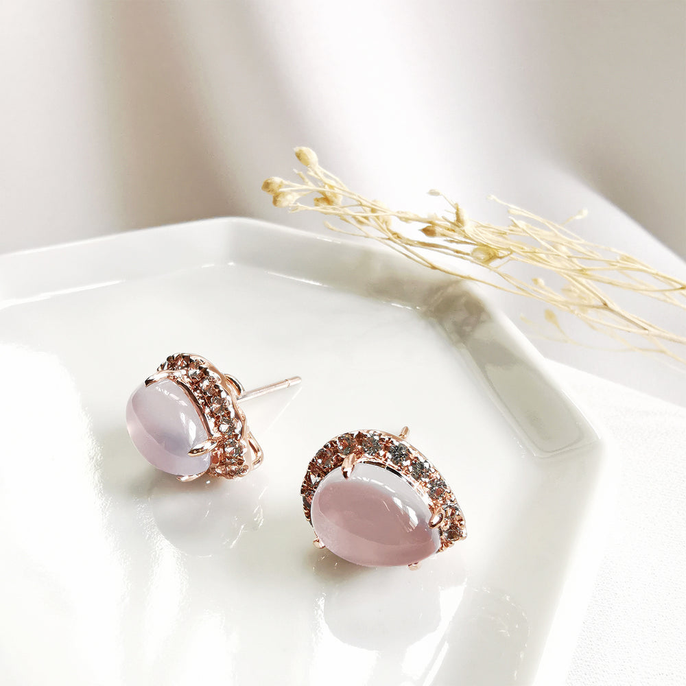Micah Chalcedony Cabochon Pear Halo Earrings - Rose Gold Plated