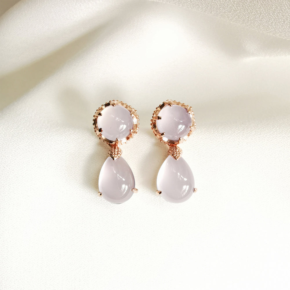 Veda Chalcedony Cabochon Convertible Drop Earrings - Rose Gold Plated